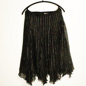 Pleated Midi Skirt Silk &  Metallic Black